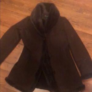 Jones New York Faux suede brown coat sz PS